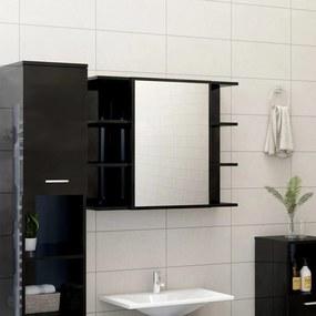 802613 vidaXL Armário casa banho c/ espelho 80x20,5x64cm contraplacado preto
