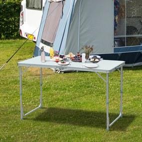 Outsunny Mesa de acampamento dobrável e conversível com altura ajustável - Cor: Branco - Alumínio e MDF - 120x60x54-70cm