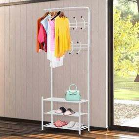 HOMCOM cabide de metal cabide Sapateiro para roupas e sapatos Cabide Pie 18 Ganchos 3 Prateleiras 67x30x185cm
