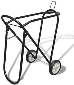 141332 vidaXL Estante sela de metal com rodas