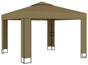 312218 vidaXL Gazebo c/ telhado duplo 3x3x2,7m 180 g/m² cinzento-acastanhado
