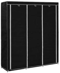 282453 vidaXL Roupeiro c/ compartimentos e varões 150x45x175 cm tecido preto