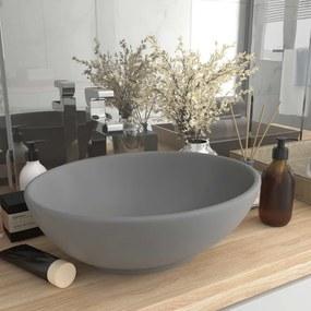 146927 vidaXL Lavatório luxuoso oval 40x33cm cerâmica cinzento-claro mate