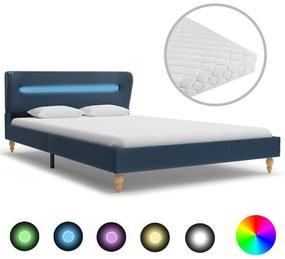 277699 vidaXL Cama com LED e colchão 120x200 cm tecido azul