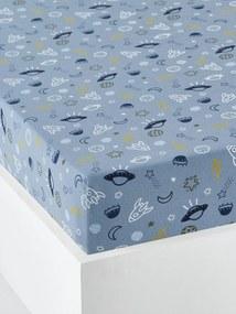 Lençol-capa para criança, tema Cosmos azul medio estampado