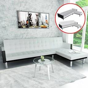 244329 vidaXL Sofá-cama em forma de L, couro artificial, branco
