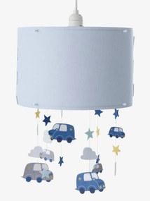 Abajur nuvens e carros, para pendurar azul liso com decoração