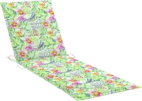 Almofadão p/ espreguiçadeira 200x70x4cm tecido padrão de folhas