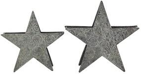 Cojunto de 2 candelabros de metal prateados TORNIO
