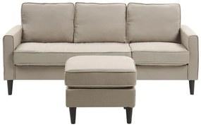 Sofá de 3 lugares com repousa-pés em tecido creme AVESTA