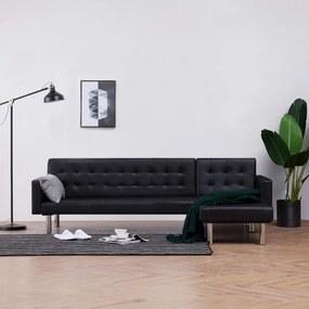 Sofá-cama em forma de L couro artificial preto