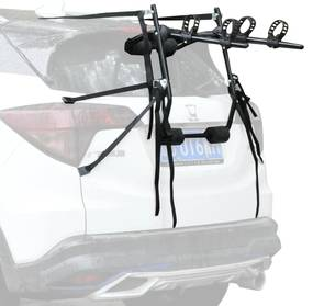 HOMCOM Suporte de bicicleta para bagageira dobrável com tiras de segurança Suporte para 2 bicicletas de até 70kg 75x50x10cm