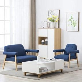 275213 vidaXL Conjunto de sofás para 3 pessoas 2 pcs tecido azul