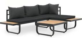 Sofás de canto para jardim com almofadões 2 pcs alumínio e WPC