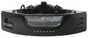 Banheira de hidromassagem de canto com LED 155 cm em acrílico preto MARTINICA