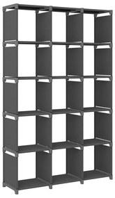 322620 vidaXL Unidade de prateleiras 15 cubos 103x30x175,5 cm tecido cinzento