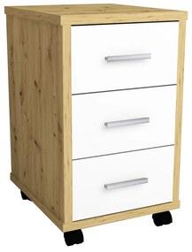 429440 FMD Armário de gavetas móvel cor carvalho artesanal e branco brilhante