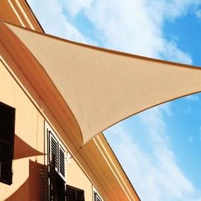Toldo Vela Triângulo tipo Guarda-sol para Varanda Jardim e Campismo - Cor: Areia - Polietileno - 4 x 4 x 4 m