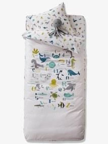 Conjunto pronto-a-dormir com edredon, tema Abecedário de animais marinhos branco claro liso com motivo