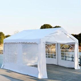 Outsunny Pérgola de Jardim 400x400x280cm para Festa ou Casamento Com 4 Janelas 2 Portas