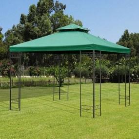 Outsunny Teto de Reposição para tenda 300x300cm Poliéster Verde Telhado de substituição