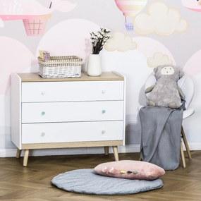 HOMCOM Cómoda Infantil com 3 Gavetas Pés de Madeira amplo espaço de Armazenamento para Brinquedos Roupa Livros 90x40x75,2cm Branco
