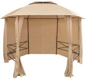 43166 vidaXL Tenda de jardim com cortinas hexagonal 360x265 cm