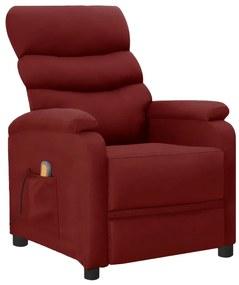 289693 vidaXL Poltrona massagens reclinável couro artificial vermelho tinto