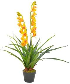 280170 vidaXL Planta orquídea artificial com vaso 90 cm amarelo
