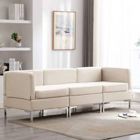 3052721 vidaXL 3 pcs conjunto de sofás tecido cor creme