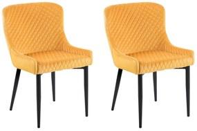 Conjunto de 2 cadeiras estofadas em veludo amarelo SOLANO