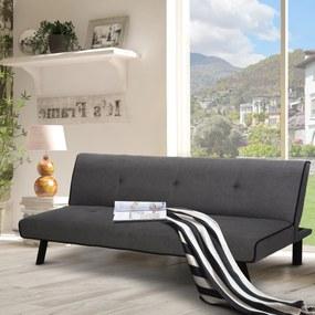HOMCOM Sofá-cama de 3 lugares Projeto 2 em 1 com pernas levantadas Acolchoado 170x76x72,5 cm Cinza