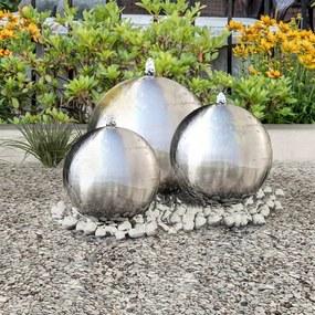 277506 vidaXL 3 pcs esferas para fonte de jardim com LED aço inoxidável