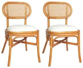 325480 vidaXL Cadeiras de jantar 2 pcs linhos castanho-claro