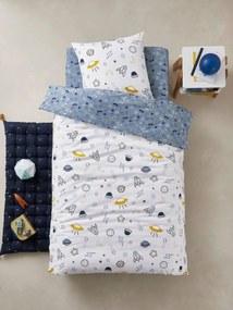 Conjunto capa de edredon + fronha de almofada para criança, tema Cosmos azul medio estampado