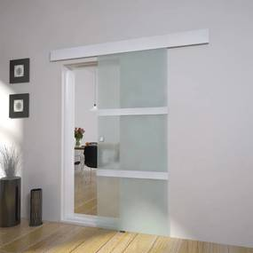 60266 vidaXL Porta deslizante em vidro e alumínio 178 cm prateado