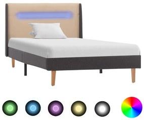 286698 vidaXL Estrutura cama com LED 100x200 cm tecido creme