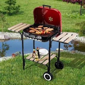 Outsunny Churrasqueira de carvão com prateleiras de madeira para Pátio Campismo Multifuncional 98x49x81cm