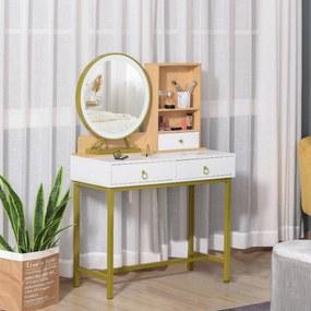 HOMCOM Penteadeira com LED Espelho Iluminado com 3 gavetas e 2 prateleiras Sensor de toque para quarto moldura metálica dourado 90x40x125 cm Branco