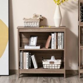 HOMCOM Estante de madeira de 2 níveis com laterais reforçadas para livros Fotos Plantas 80x30x82 cm Carvalho