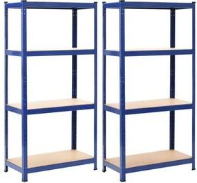 Prateleiras de Arrumação 2 pcs Azul 80x40x160 cm Aço e Mdf