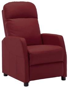 321356 vidaXL Poltrona reclinável couro artificial vermelho tinto