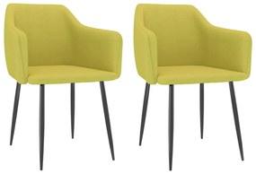 323119 vidaXL Cadeiras de jantar 2 pcs tecido verde