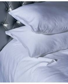 Jogo de lençóis às riscas brancas cetim 300 fios cor branca com vivos em branco: Branco cama 140cm - 1 lençol superior 240 x 290 cm + 1 lençol capa ajustável 140 x 200 + 30 cm + 2 fronha almofada 50x70 cm