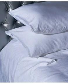 Jogo de lençóis às riscas brancas cetim 300 fios cor branca com vivos em branco: Branco cama 150cm - 1 lençol superior 240 x 290 cm + 1 lençol capa ajustável 150 x 200 + 30 cm + 2 fronhas almofadas 50x70 cm
