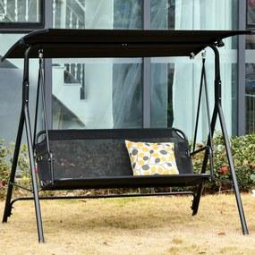Outsunny Balanço de jardim de 2 lugares com guarda-sol teto com ângulo ajustável para Varanda Carga 200 kg 172x110x155 cm Preto