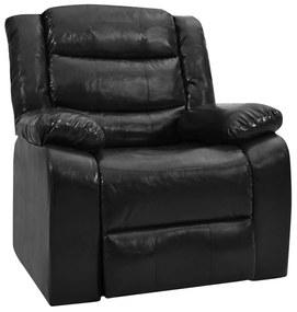 Sofá reclinável couro artificial preto