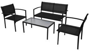 42162 vidaXL 4 pcs conjunto lounge para jardim textilene preto
