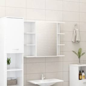 802612 vidaXL Armário casa banho c/ espelho 80x20,5x64cm contraplacado branco