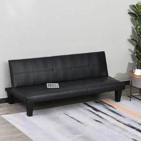Sofá-Cama de 3 lugares com pernas levantadas, encosto ajustável e acolchoado 165x75,5x70cm Preto